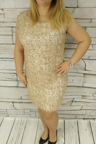 0061eb8a6e Tunika- Sukienka koronkowa z cekinami złota Butik Finezja